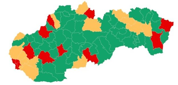 Red and orange districts in Slovakia (from September 17)