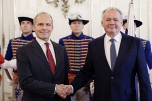 Ambassador of the Swiss Confederation to the Slovak Republic Alexander Hoffet (left) after handing over the credentials to the President of the Slovak Republic Andrej Kiska in Bratislava on September 11, 2018.