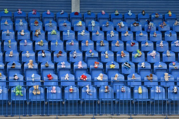 Plush toys in the Senica football stadium seats cheer for FK Senica and ŠKF Sereď during round 9 of the top football Fortuna League on November 17, 2020.