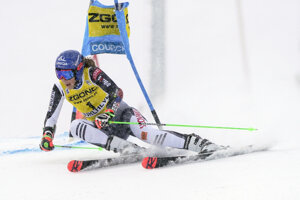 Slovakia's Petra Vlhová speeds down the course during an alpine ski, women's World Cup giant slalom in Courchevel, France.