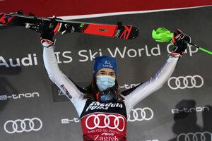 First placed Slovakia's Petra Vlhová celebrates on the podium of an alpine ski, women's World Cup Slalom, in Zagreb, Croatia.