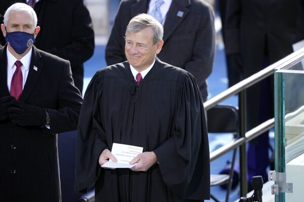 Chief Justice of the United States Supreme Court, John Glover Roberts Jr, during the inauguration of President Joe Biden.