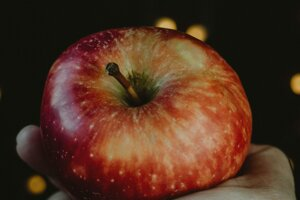 An apple tasted sweet, but not like an apple.