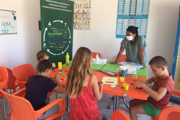 Laura during her field visit to a community centre in Bubq, Albania.