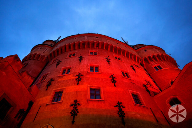 The bojnice castle in blood-red light