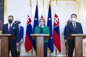 Speaker of Parliament Boris Kollár, President Zuzana Čaputová and Prime Minister Eduard Heger, from left after signing the a letter accompanying Slovakia's recovery plan.