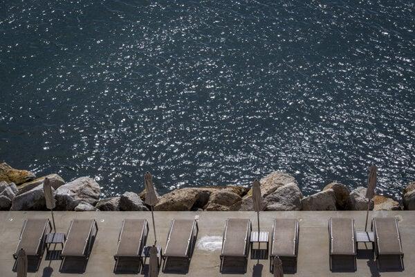 Beach loungers are set for tourists in Opatija, Croatia.