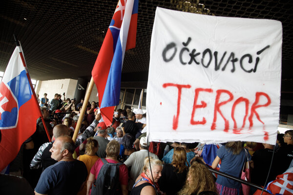 """""""Vaccination terror"""" reads one of the banners."""