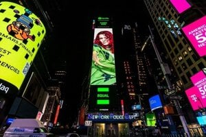 Slovak singer Karin Ann is featured on a billboard in New York City's Times Square in late August 2021.
