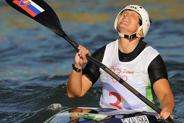 Elena Kaliská savours her Olympic victory.