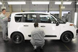 Employees work on the new Citroen C3 Picasso in the PSA Peugeot Citroen Slovakia plant in Trnava.