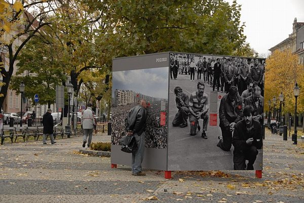 People stop to look at the photos on, and also inside, the outdoor display cubes.