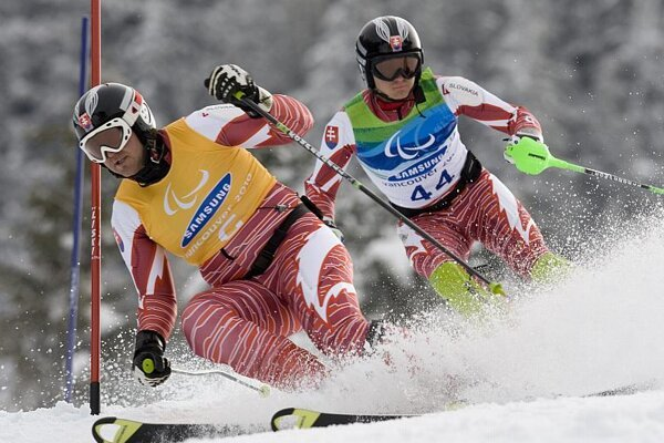 Olympic champion Jakub Krako (r) and his guide Juraj Medera.