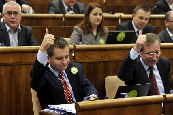 Martin Chren (left) voting on the legislation.