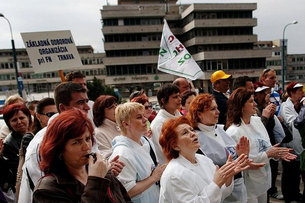 Health-care workers protesting over pay last year.