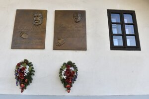 Memorial plaques of Ľudovít Štúr (L) and Slovak communist-time reformatory politician Alexander Dubček who were both born in this house in Uhrovec.