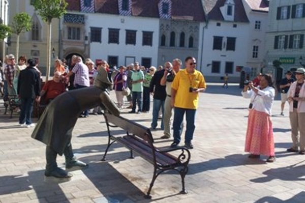 The Napoleonic soldier back in the Main Sqaure in Bratislava