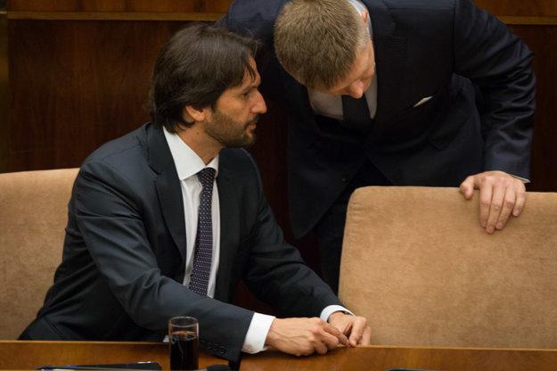Interior Minister Robert Kalinak with PM Robert Fico
