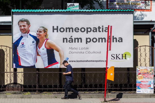 One of the billboards features tennis player Dominika Cibulková.