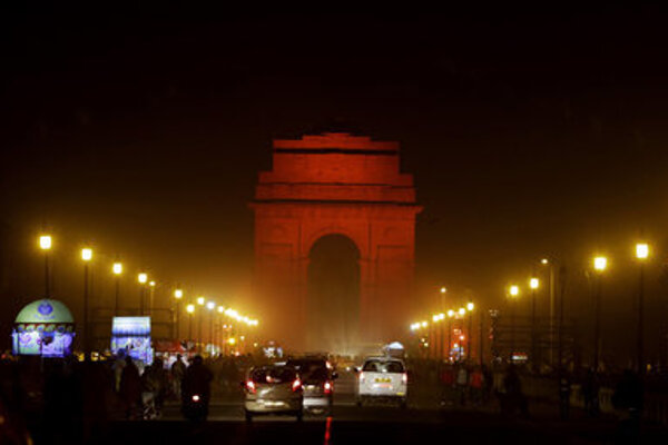 India Gate, New Delhi, India, was lit orange to mark the cmapaign against violence on women.