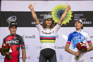 Peter Sagan raises after his victory at the UCI Pro Tour cycling Grand Prix in Quebec City on September 9.