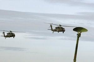 Combat helicopters, illustrative stock photo