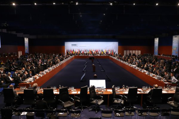 Closing session of the OSCE Ministerial Council Meeting in the exhibition hall in Hamburg, Germany, Friday December 9.