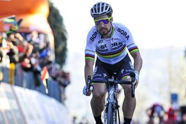 Sagan cylcing to his victory in an earleir, March 12, stage; overall, he ended 47th in the Tirreno-Adriatico cycling race.