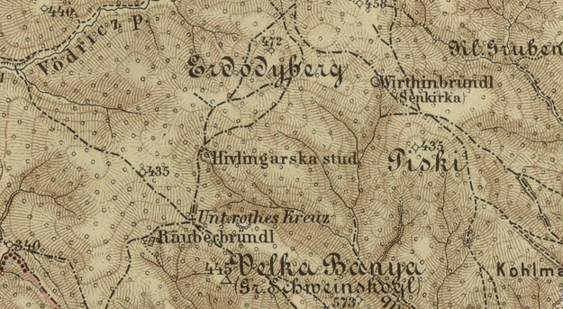 The historical inscription of the Himligárka spring at an old map.