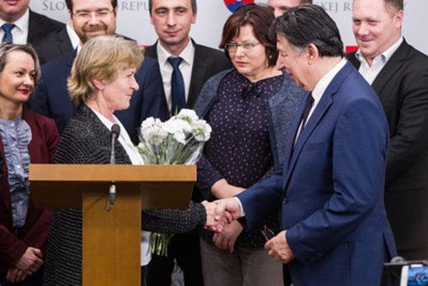 Anna Remiášová and opposition MP Ján Budaj