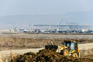 The construction site of a brand new plant of Jaguar Land Rover near Nitra.
