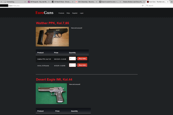 Guns are available for sale on the darknet website.