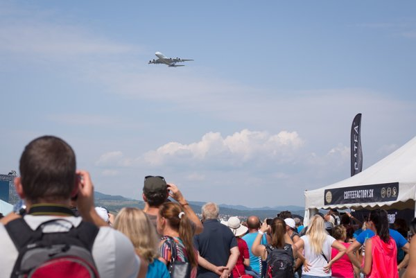 Airbus A380 performed at the SIAF 2017 air show.