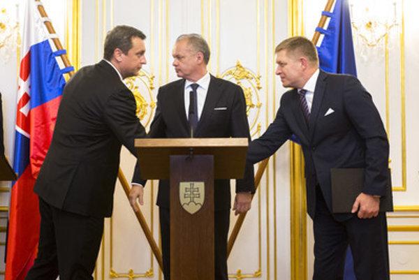 Andrej Danko, Andrej Kiska and Robert Fico, from left.