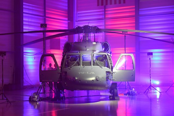 Black Hawk helicopter presented at the opening ceremony.