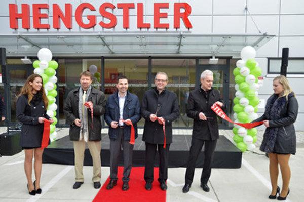 CEO of Hengstler Kežmarok Marcel Drgala (3rd L), president of Hengstler-Dynapar Jochen Feiler (3rd R) and Kežmarok Mayor Ján Ferenčák (2nd R) at the opening of new plant in Kežmarok.