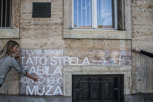 A sign on the Comenius University in Bratislava commemorates August 21, 1968 events