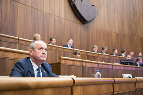 Defence Minister Peter Gajdoš (L) during the heated debate on military modernisation February 9.