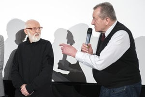 L-R: Czech surrealist film-maker, artist Jan Švankmajer, with producer of The Insect, Jaromír Kallista, opening the Febiofest 2018 film festival, March 15.
