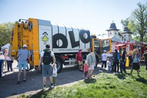Bratislava City Days 2018, waste-collecting and disposing company showed its truck,