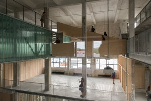 Glass, wood, steel and concrete.