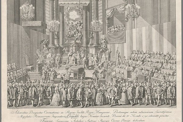 Coronation of Leopold II in St Martin's Dome redesigned in the baroque style.