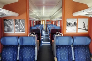 The photo exhibition commemprating Alexander Dubček on trains.