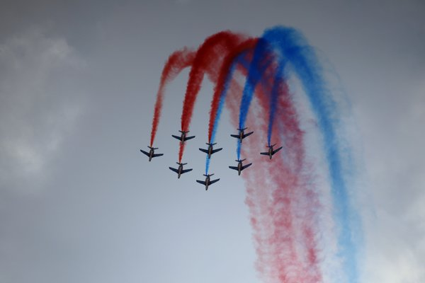 Patrouille de France, the precision aerobatic demonstration unit of the French Air Force, shows its skills.
