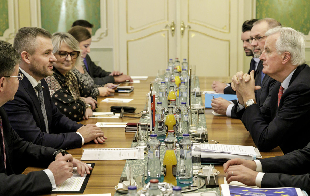 Slovak PM Peter Pellegrini met with European Chief Negotiator Michel  Barnier in Bratislava. 3e72cbbad18