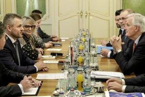 Slovak PM Peter Pellegrini met with European Chief Negotiator Michel Barnier in Bratislava.