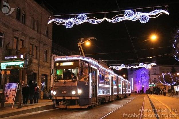 Christmas tram in Miskolc