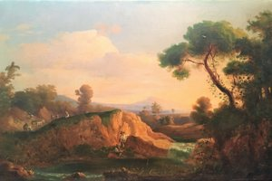 Idyllic country with a lake, around 1850