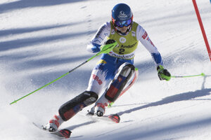 Petra Vlhová speeds down the course during an alpine ski, women's slalom, at the alpine ski, World Cup finals in Soldeu, Andorra, on March 16, 2019.