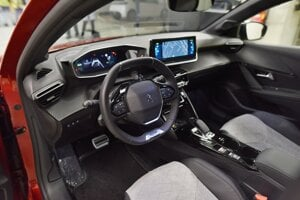 The interior of the electric Peugeot 208.